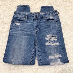American Eagle Hi Rise Jegging Distressed Jeans 10